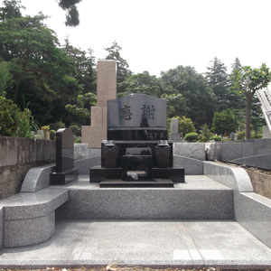 インド牡丹洋型墓石セット